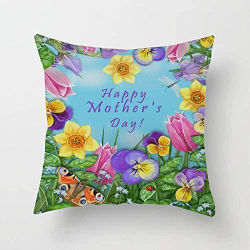 N\A Feliz día de la Madre Flores de Mariposa corazón tulipán libélula Mariquita Funda de Almohada Personalizada Funda de Almohada para sofá Dormitorio Coche