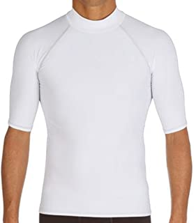 LINGMIN Men's Short Sleeve Surf Rash Guard - UV Protection Compression Shirt Swim Beach Top Base Layer Swimwear