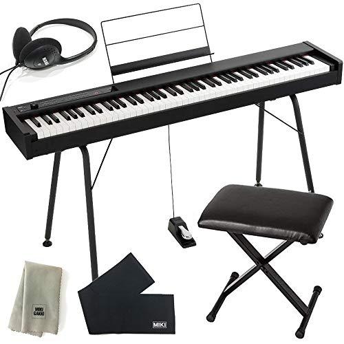KORG コルグ DIGITAL PIANO D1 BK ブラック + 椅子 + ヘッドホン + 専用スタンド「ST-SV1-BK」セット (鍵盤カバー + クリーニングクロス 付き)