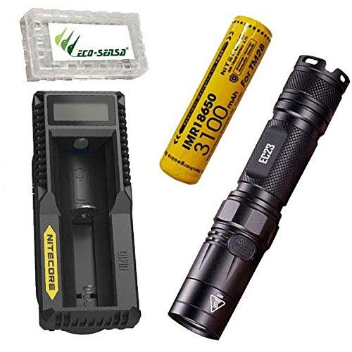 Combo: Nitecore EC23 CREE XHP35 HD LED linterna con cargador UM10, 1 x 3100mAh 10A 18650