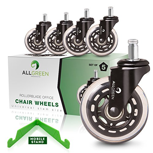 ALLGREEN Office Chair Caster Wheels 5 pcs Replacement Set Casters Heavy Duty Easy Installation and Universal Fit Smooth Rollerblade wheels for Office Chairs and Gaming Chair Wheels Safe for All Floors
