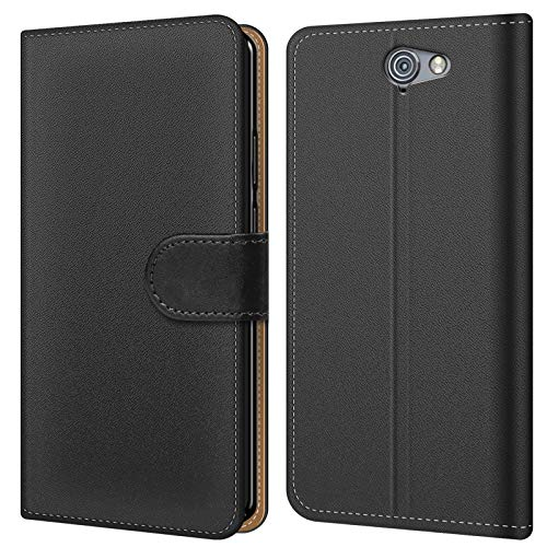 Conie BW6267 Basic Wallet Kompatibel mit HTC One A9s, Booklet PU Leder Hülle Tasche mit Kartenfächer & Aufstellfunktion für One A9s Case Schwarz