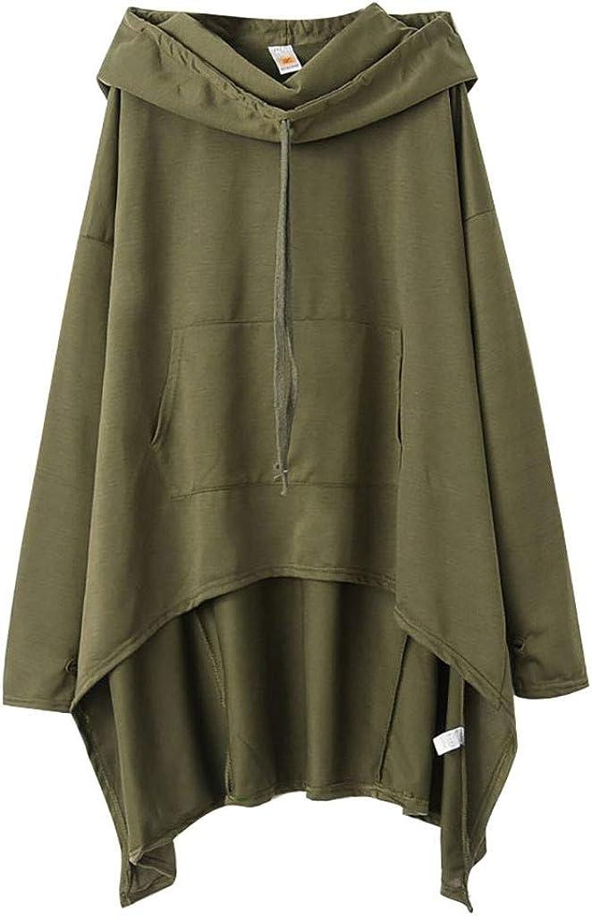HUIYEA Women's Long Sleeve Drawstring Hoodies Solid Irregular Hem Lightweight Pullover Loose Sweatshirt Crew Neck Tops Blouse