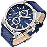 Mens Watches,Stone Watches for Men Fashion Sports Waterproof Wristwatch Bussiness Dress Calendar Analog Quartz Watch Blue Leather Band