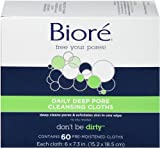 Bioré Daily Facial Cleansing Cloths, 60 Count, with Dirt-grabbing Fibers for Deep Pore Cleansing and Makeup Removal without Oily Residue