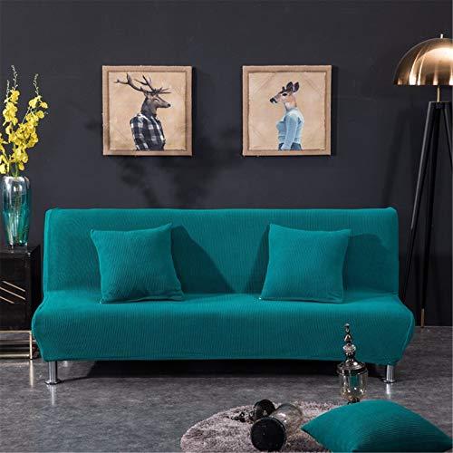 WWYL Sofabezug ohne Armlehnen Stretch Abdeckung Husse für Sofabett Sofaüberzug Armless Antirutsch (Saphirblau,M:160-185 cm)