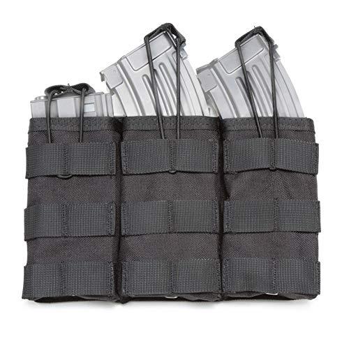 Dreifache Magazintasche, M4 M16 AR15 MOLLE Mag Pouch, Gewehr Magazintasche, MOLLE Airsoft Magazintasche, Abnehmbare Magazintasche für Taktische Weste, für die Meisten Gewehrmagazine (Schwarz)