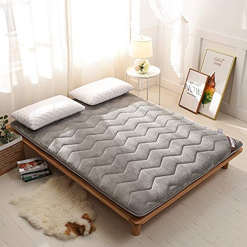 Lcihll Franela Plegable Super Thick Tatami Floor Mat, Futon Mattress Topper Floor Sleeping Pad Soft Japonés Plegable,Gray,150x190cm(59x75inch)
