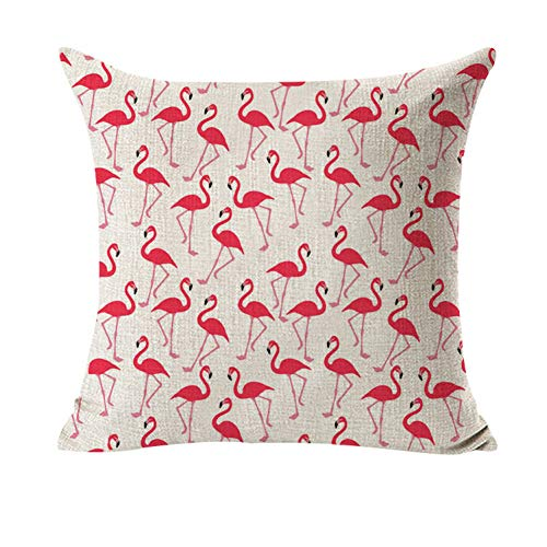 YIERJIU Flamingo pattern cotton linen throw pillow cushion cover seat car decoration decorative pillow cover,V