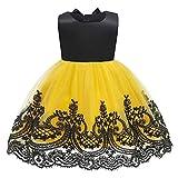 Qfeng - Vestido para niño, sin espalda, con lazo y falda de princesa, disfraz de princesa para niña, vestido de Año Nuevo, vestidos de encaje, vestidos de fiesta, vestidos de princesa, moda para niñas pequeñas, Amarillo, (110cm)