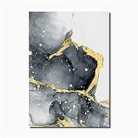 モダンな抽象キャンバスポスターゴールデンブラックウォールアート絵画ノルディックポスターとプリントリビングルームの家の装飾のための壁の写真 (Color : A, Size (Inch) : 50x70cm No Frame)