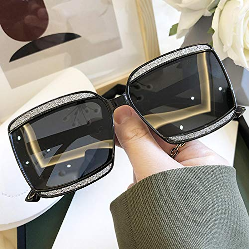 Gafas de Sol Gafas De Sol Cuadradas Polarizadas para Mujer, Gafas De Sol Brillantes De Cristal Negro, Gradiente Femenino, Tonos Elegantes, Verde, Negr