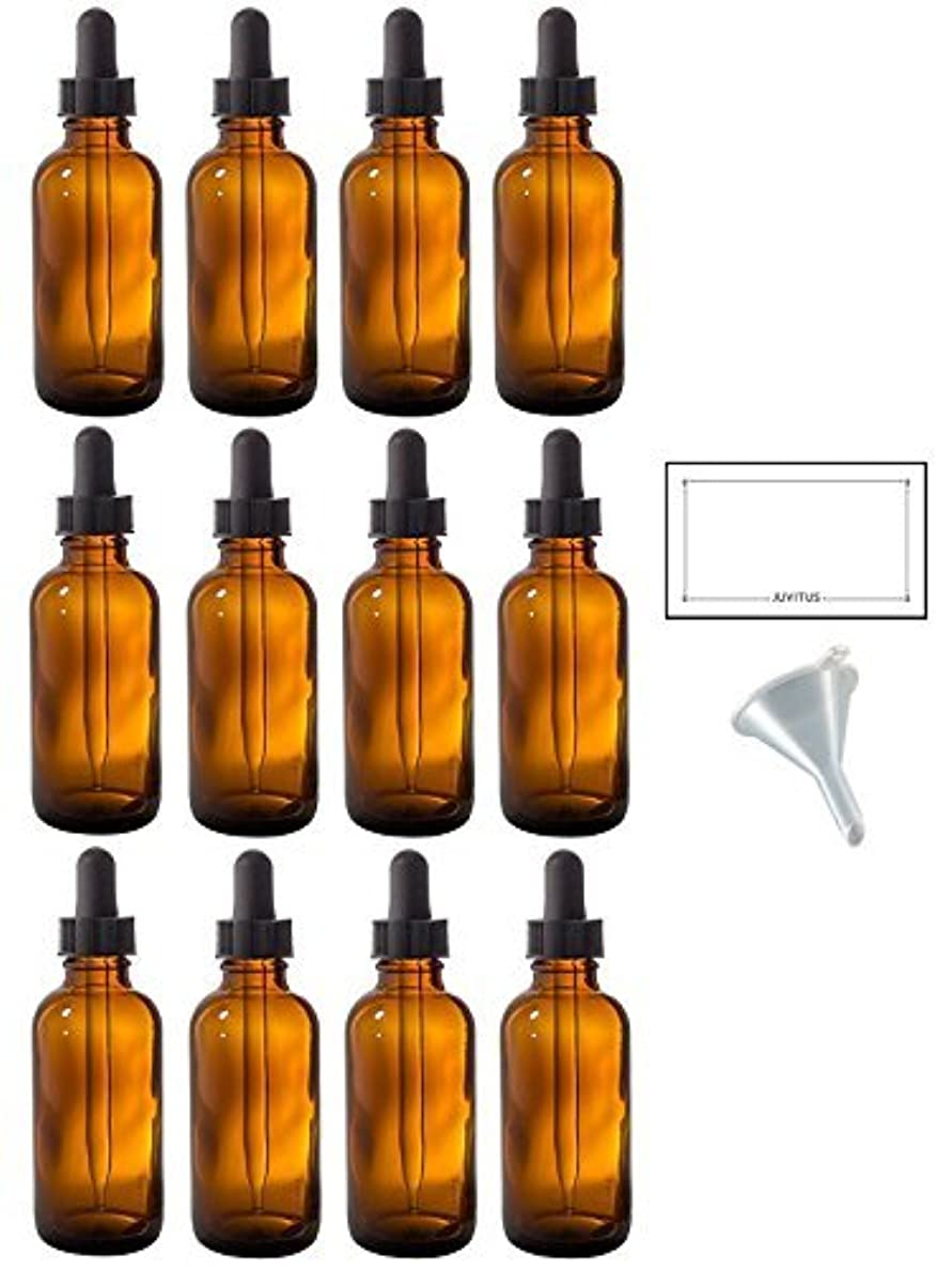 保険をかけるバッテリー複雑2 oz Amber Glass Boston Round Dropper Bottle (12 pack) + Funnel and Labels for essential oils, aromatherapy, e-liquid, food grade, bpa free [並行輸入品]