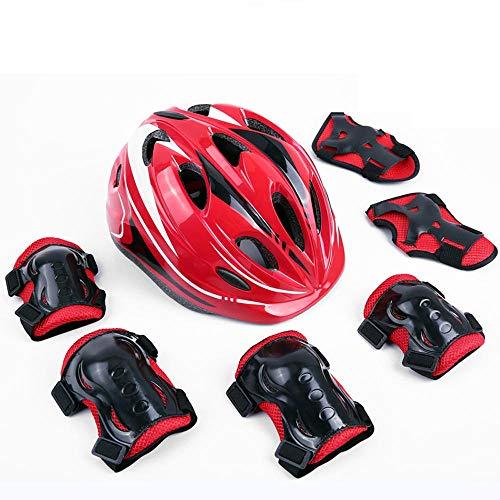 SHUANGXIU Knieschutzausrüstung Für Kinder Siebenteiliger Skateboard-Skates Balance Car Fahrradhelm (Für Weniger Als 30 Kg), China_Red
