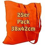 Cottonbagjoe 10 Baumwolltaschen | 38x42 cm | unbedruckt | mit zwei langen Henkeln | bemalbar | Öktex 100 zertifiziert | Jutebeutel | Stofftaschen