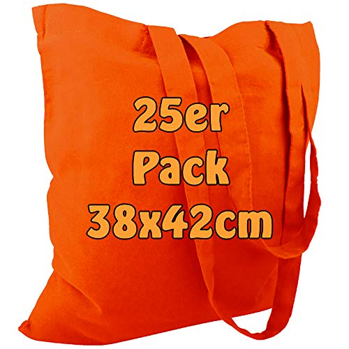 Cottonbagjoe Baumwolltasche Jutebeutel Baumwolltaschen mit Zwei Langen Henkeln 38x42cm (Orange, 25 Stück)