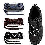 Cordones Redondos para Botas[3 Pares]Cordones Reforzados y Duraderos para Botas Montaña Zapatos Senderismo 4mm Rayas Resistente Fuerte Unisex -Cordones Redondos Para Zapatos,Zapatillas de Deporte Bota