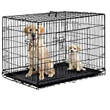 Dog Crate Dog Cage Pet Crate 48 Inch Folding Metal Pet Cage Double Door W/Divider Panel Dog Kennel Leak-Proof Plastic Tray Wire Animal Cage