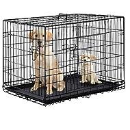 "BestPet 42"" Pet Kennel Cat Dog Folding Steel Crate Playpen Wire Metal Cage W/Divider"