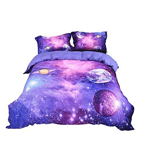 Stillshine Ropa de Cama Galaxia Universe Universo Cielo Estrellado Mandala Lunar Planeta 3D Colorido Púrpura Azul Funda nórdica 180 x 220 cm - Cama 90 cm/105 cm