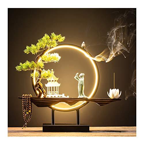 Quemador de incienso Nuevo chino Reflujo quemador de incienso creativo Reflujo Incienso quemador Oficina Sala gabinete del vino aromaterapia Horno de la lámpara del anillo de sándalo decoración del ho