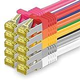 Cat.7 Netzwerkkabel 0,25m 10 Farben 10 Stück Cat7 Ethernetkabel Netzwerk LAN Kabel Rohkabel 10 Gb s...