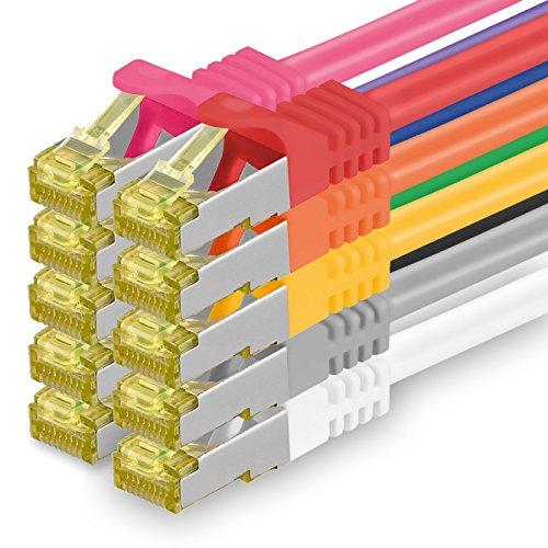 Cat.7 Netzwerkkabel 0,25m 10 Farben 10 Stück Cat7 Ethernetkabel Netzwerk LAN Kabel Rohkabel 10 Gb s SFTP PIMF LSZH Set Patchkabel mit Rj 45 Stecker Cat.6a