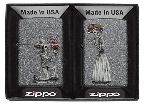 Zippo 60002305 PL Day of Dead Skulls Set Feuerzeug, Messing, Edelstahloptik, 1 x 3,5 x 5,5 cm