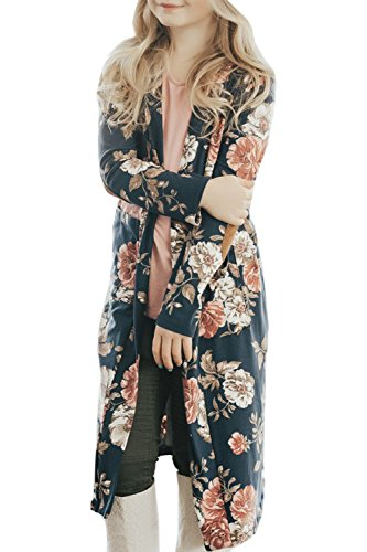 Girls Fall Clothes Long Sleeve Cardigan Floral Kimono Coat Elbow Patch Tops with Pockets (6-7 Years, B Navy)