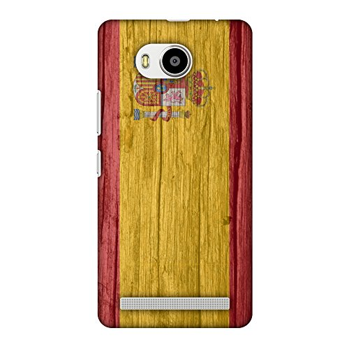 AMZER Slim Fit Handcrafted Designer Printed Snap On Hard Shell Case Back Cover for Lenovo A7700 - Spain Flag- Wood Texture HD Color, Ultra Light Back Case