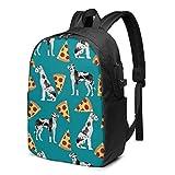 XCNGG Great Dane Pizza Business Laptop School Bookbag Mochila de Viaje con Puerto de Carga USB y Puerto para Auriculares de 17 Pulgadas
