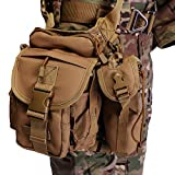 ANTARCTICA Waterproof Military Tactical Drop Leg Pouch Bag Type B Cross Over Leg Rig Outdoor Bike Cycling Hiking Thigh Bag (Brown)