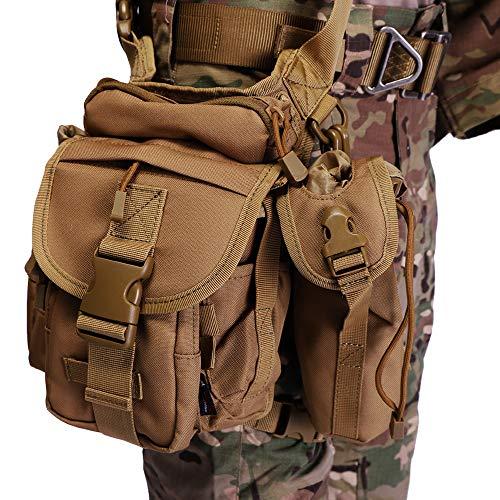 ANTARCTICA Waterproof Military Tactical Drop Leg Pouch Bag Type B Cross Over Leg Rig Outdoor Bike Cycling Hiking Thigh Bag (Brown)