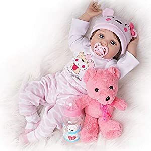 """LIFELIKE BABY DOLL: Yesteria reborn doll is 22"""" head to toe with a soft and cuddly body fresh baby powder scented with ¾ vinyl arms and legs. Her weighted cloth body is complete with a diaper for realistic play to develop social skills while engaging..."""