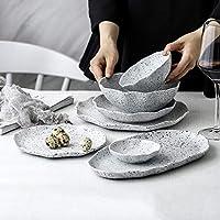 磁器食器セット、33個花崗岩質感陶器食器セット  プレート/ボウル-レストラン用ラッフル食器コンビセット