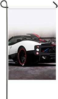 DongGan Garden Flag Pagani Zonda Cinque White Roadster 12x18 Inches(Without Flagpole)