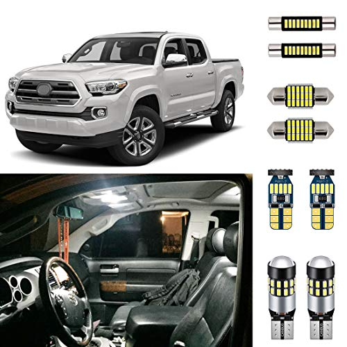 AUTOGINE Super Bright 6000K White LED Interior Light Kit Package for 2016 2017 2018 2019 2020 Toyota Tacoma + Install Tool