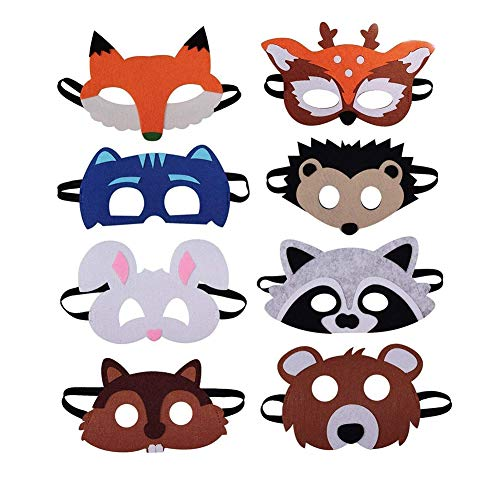 Tiermasken Filz Tier Masks, Eva Animal Masks Kindermasken Schaumstoff Masken für Halloween Weihnachten Kostüm Requisiten Dress-Up Party Zubehör 8 Stück