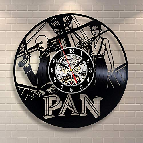 bnkrtopsu Peter Pan film thema vinyl wandklok 3D vinyl record wandklok retro decoratie huisdecoratie klok
