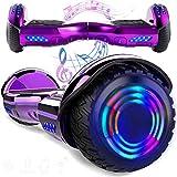 magic vida skateboard elettrico 6.5 pollici bluetooth con due barre led monopattini elettrici autobilanciati di buona qualità per bambini e adulti(nero)