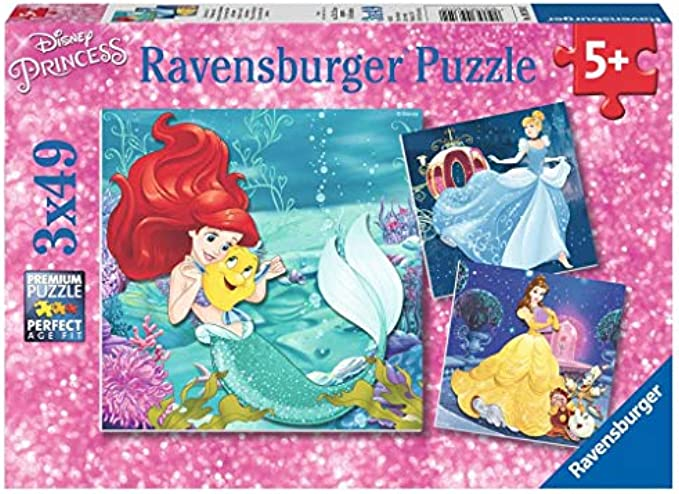Ravensburger 09350 Disney Princesses - 3 X 49 Piece Jigsaw Puzzles - Value Set of 3 Puzzles in a Box