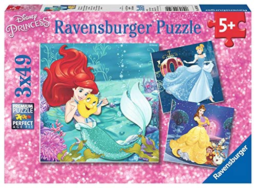 Ravensburger 09350 Disney Princesses - 3 X 49 Piece Jigsaw Puzzles - Value Set of 3 Puzzles in a Box - Every Piece is Unique, Pieces Fit Together Perfectly,Multi