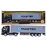 Modelo de camión contenedor de aleación, 1:48, vehículo de alta simulación, vehículo expreso, camión, vehículo de juguete fundido, modelo de regalo, coche para niños(gris)