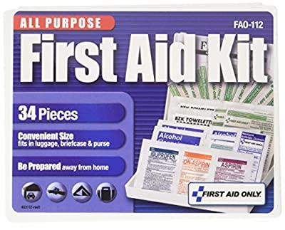 First Aid Only 112 All-Purpose First Aid Kit, 34 Pieces, 3 3/4 x 4 3/4 x 1/2, Blue/White by First Aid Only