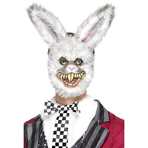 Smiffys Unisex Weißer Hase Maske mit Fell, One Size, Grau, 46995