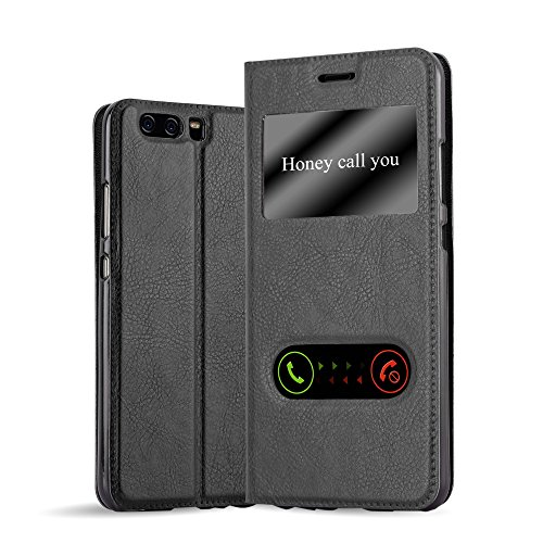 Cadorabo Funda Libro para Huawei P10 en Negro Cometa - Cubierta Proteccíon con Cierre Magnético, Función de Suporte y 2 Ventanas- Etui Case Cover Carcasa
