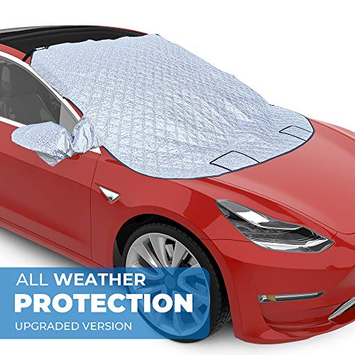 BougeRV For Tesla Model3 テスラ モデル3 フロントカバー シート 凍結防止カバー 雪対策 霜よけ 挟み耳付き