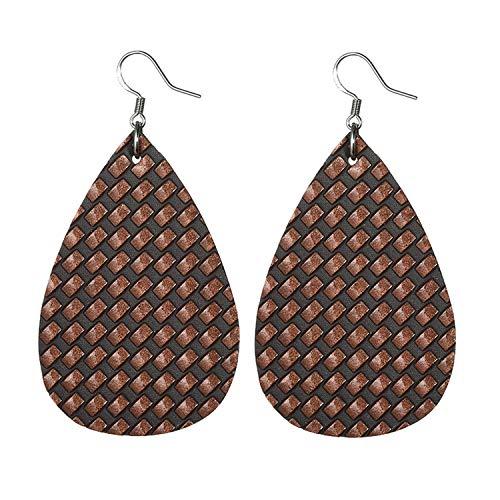 Fashion 45 Colors Teardrop Leather Earrings Lightweight Drop Earings Antique S925 Logo Dangle Earrings for Women Gifts Wholesale-Black-