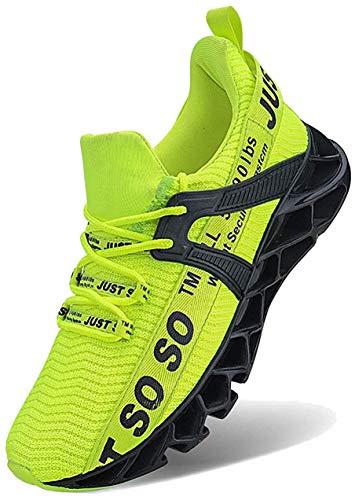 JSLEAP Schuhe Herren Laufschuhe Herre Damen Sportschuhe Straßenlaufschuhe Sneaker Joggingschuhe Turnschuhe Walkingschuhe Traillauf Fitness Schuhe (2 Leuchtendes Grün,Größe 41 EU/255 CN)