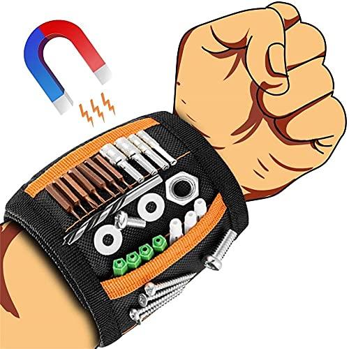 TongYing Pulsera magnética para artesanos, cinturón de herramientas con 15 superimanes, herramienta de pulsera magnética, para artesanos, pulsera fuerte, regalo para hombres y padres